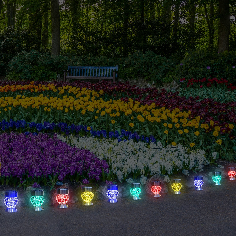 Solar Outdoor Lights 4 Color Changing Led Lamps For Landscape Lighting Ideal For Garden