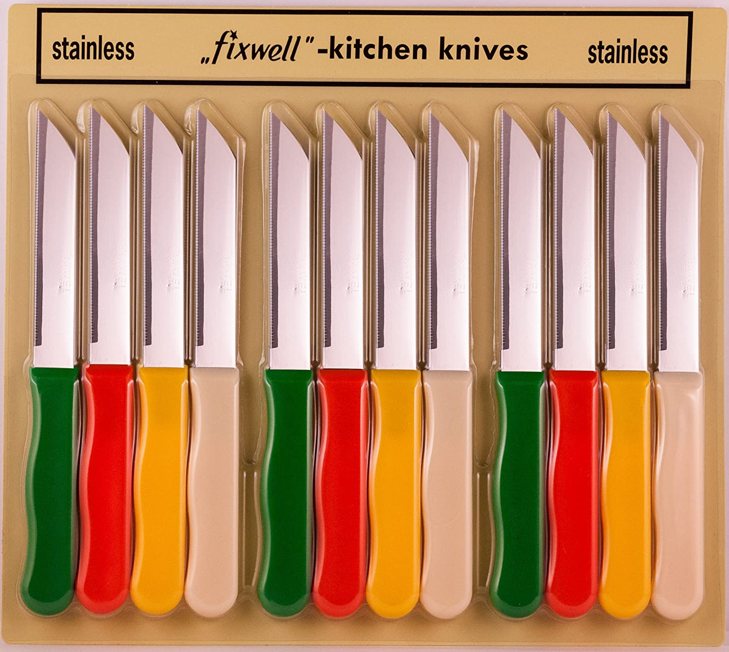 Fixwell 12-Piece Stainless Steel Knives Set, Multicolor FSB-12MB