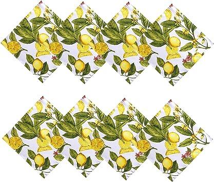 PVC Mantel limones Floral Hojas Amarillo Verde Blanco Limpiar Protector De Vinilo
