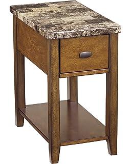 Ashley Furniture Signature Design   Breegin Contemporary Chair Side End  Table   Rectangular   Brown