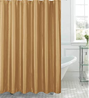 Jane Faux Silk Shower Curtain With 12 Metal Rings, Gold