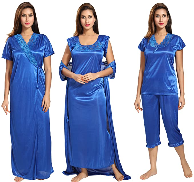 b0aed9e715 Noty Women s Satin Nighty(SJoy14 Blue-Crayola Free Size) - Pack of 4 ...