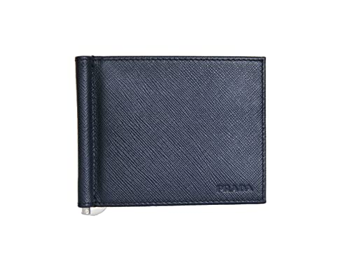 a4868536d8 Prada Mens Bifold Wallet with Money Clip Saffiano Baltico Blue ...