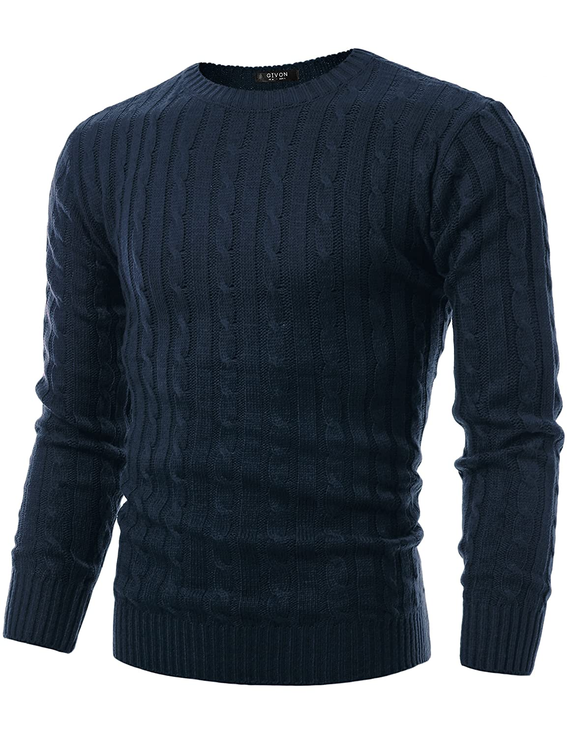 GIVON Mens Slim Fit Cable Knit Long Sleeve Crew-Neck Pullover Sweater