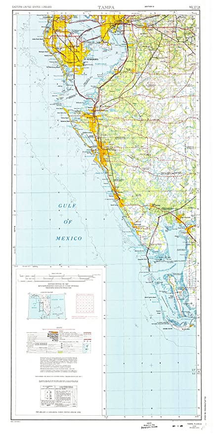 Tampa Topographic Map.Amazon Com Yellowmaps Tampa Fl Topo Map 1 250000 Scale 2 X 1