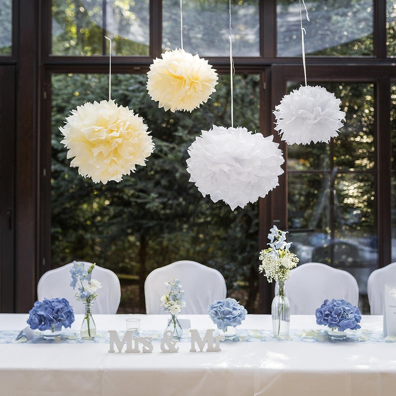 9 Pompoms Im Set In Weiß, Champagner Oder Rosa   Hängende Papierblumen Zur  Dekoration Für Ihre Hochzeit   Aus Seidenpapier Für Einen Unvergesslichen  ...