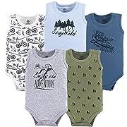 Yoga Sprout Unisex Baby Cotton Bodysuits, Adventure 5Pk Sleeveless, 6-9 Months (9M)