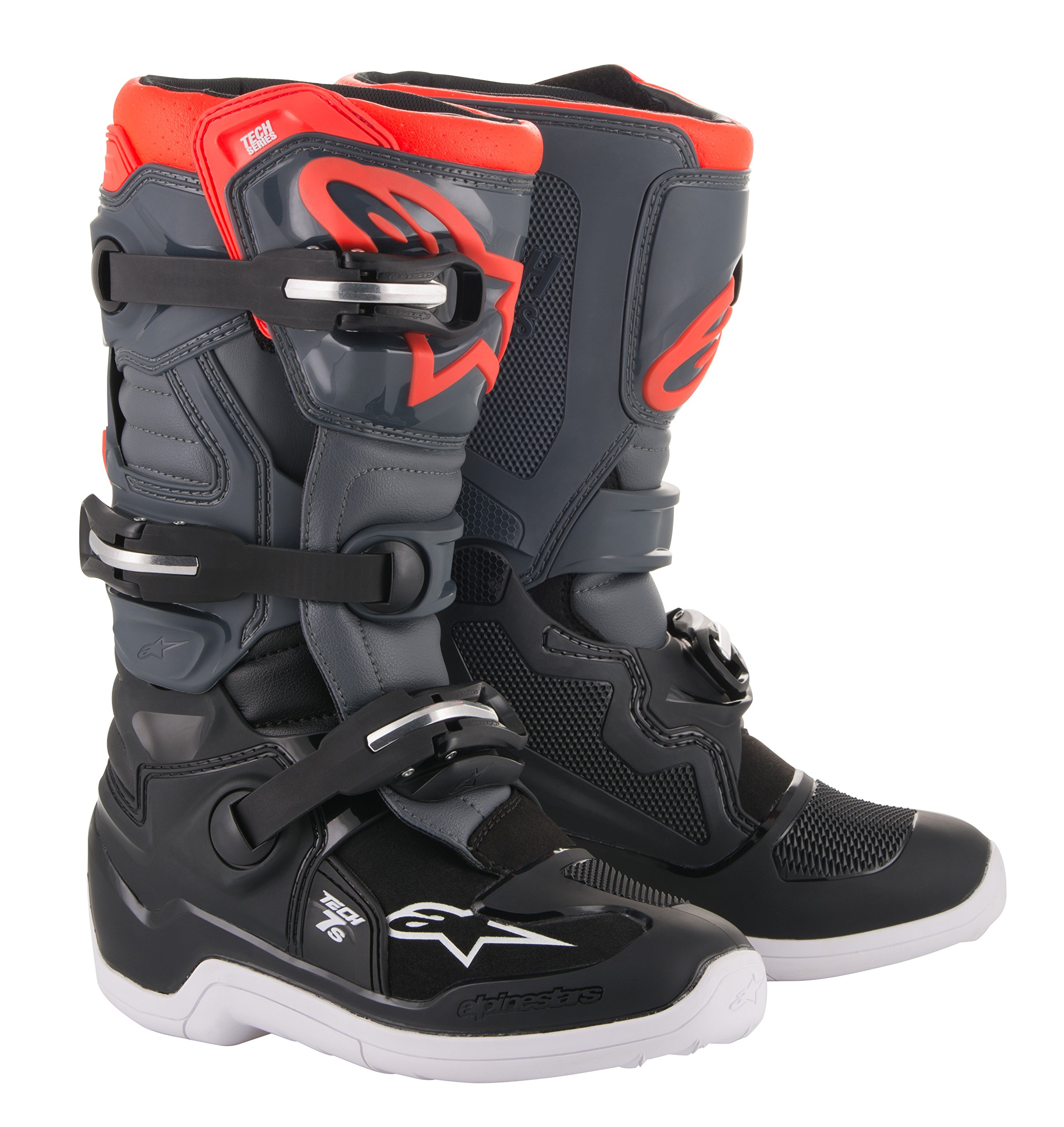 Tech 7S Youth Off-Road Motocross Boot (5 US, Black Dark Gray Red Fluo)