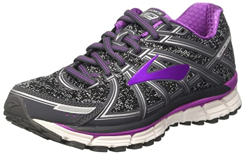 Adrenaline GTS 17, Zapatillas de Gimnasia para Mujer, Gris (Metallic Charcoal/Black/Purple Cactus Flower), 36.5 EU Brooks