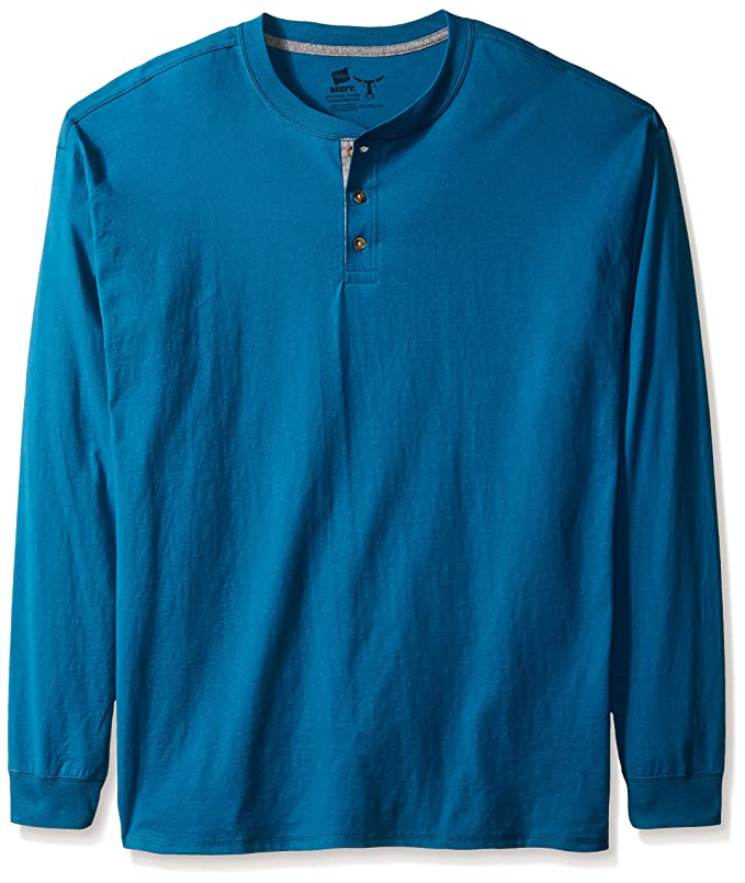 Hanes Men's Long-Sleeve Beefy Henley T-Shirt - X-Large - Petro Teal
