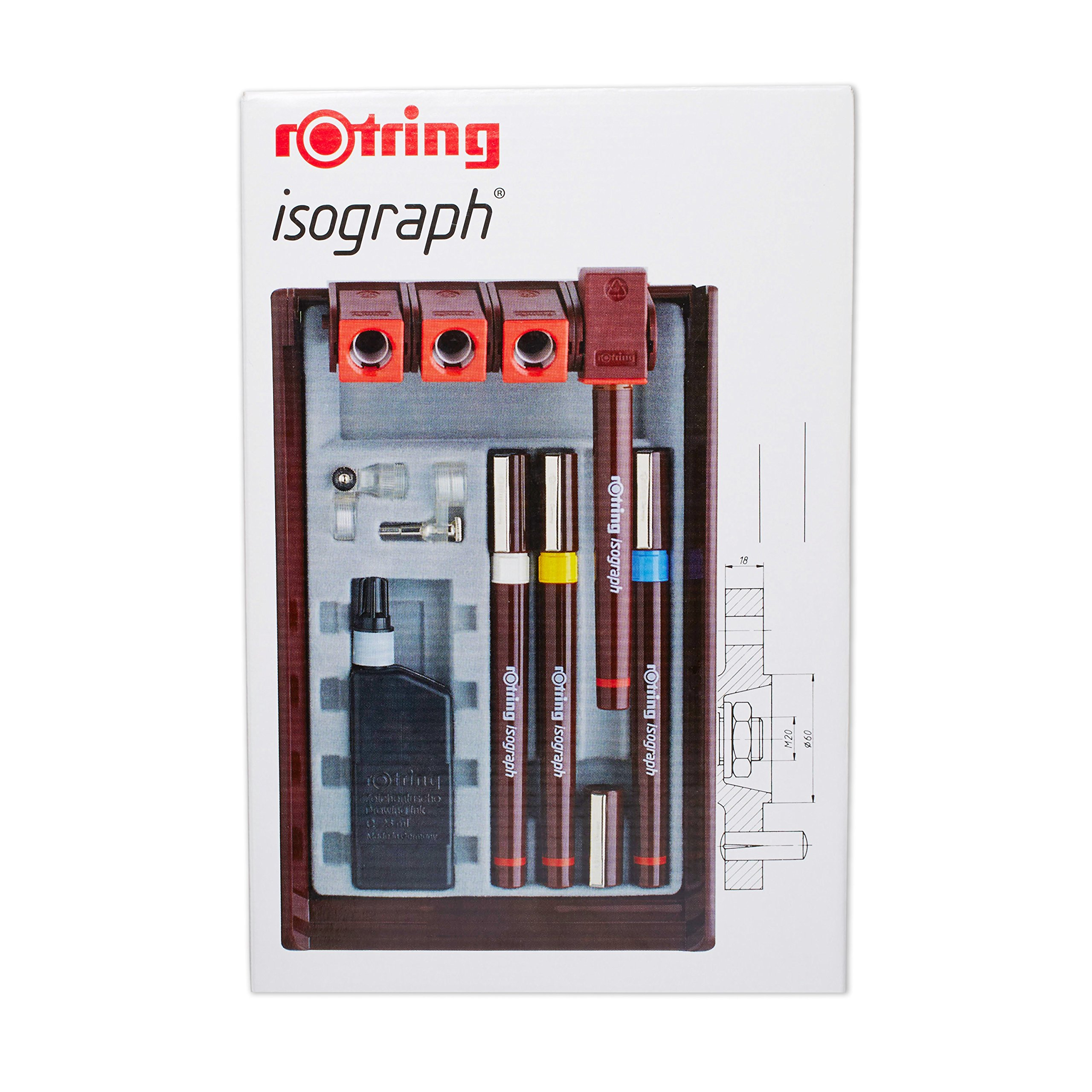 rOtring Isograph Technical Drawing Pens, Set, 4-Pen Set (.20-.50 mm)