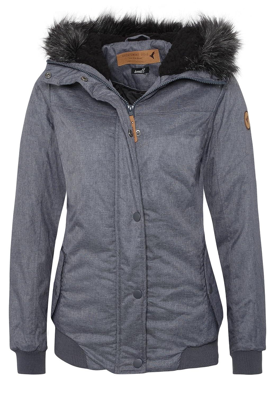 1df061e0a6f8cb Eight2Nine Damen Winterjacke im Streetstyle | Warme Jacke mit Kapuze in  Blau & Grau: Amazon.de: Bekleidung