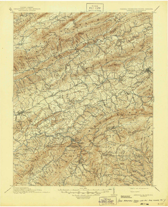Abingdon Virginia Map.Amazon Com Yellowmaps Abingdon Va Topo Map 1 125000 Scale 30 X 30