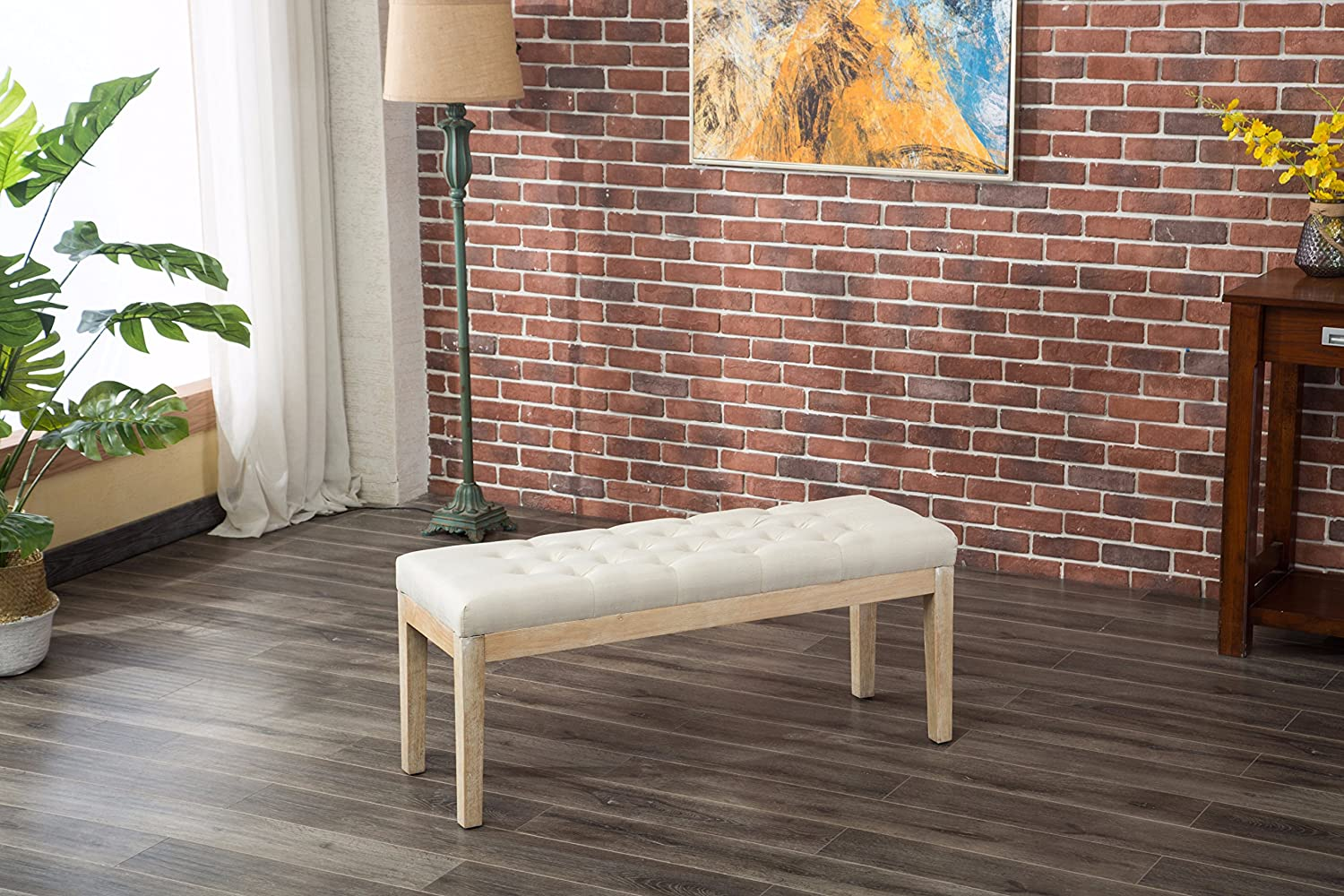 Roundhill Furniture Mod Urban Style Solid Wood Button Tufted Fabric Dining Bench, Beige