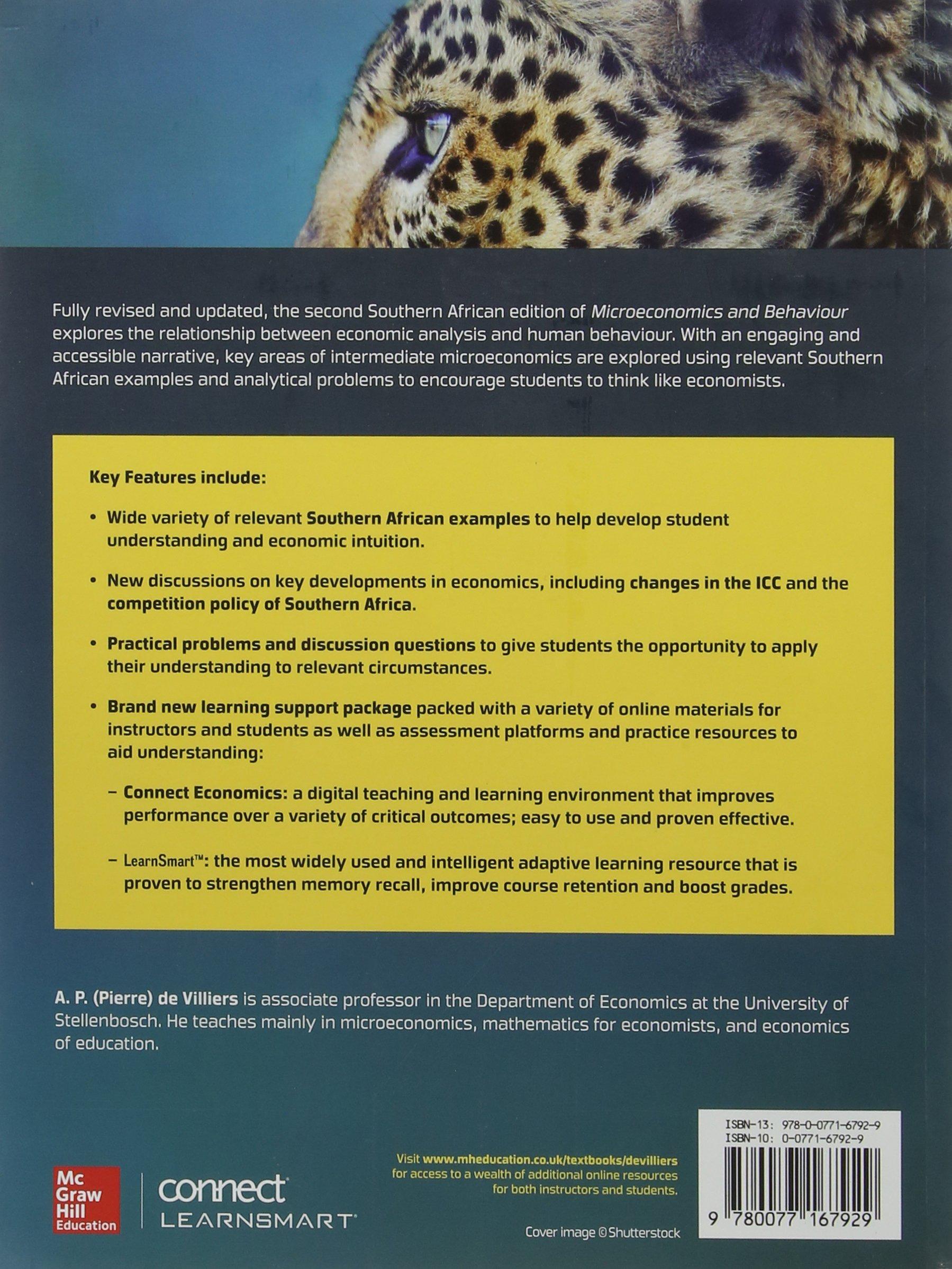 Microeconomics and Behaviour: South African edition: A. Pierre De Villiers,  Robert H. Frank: 9780077167929: Amazon.com: Books