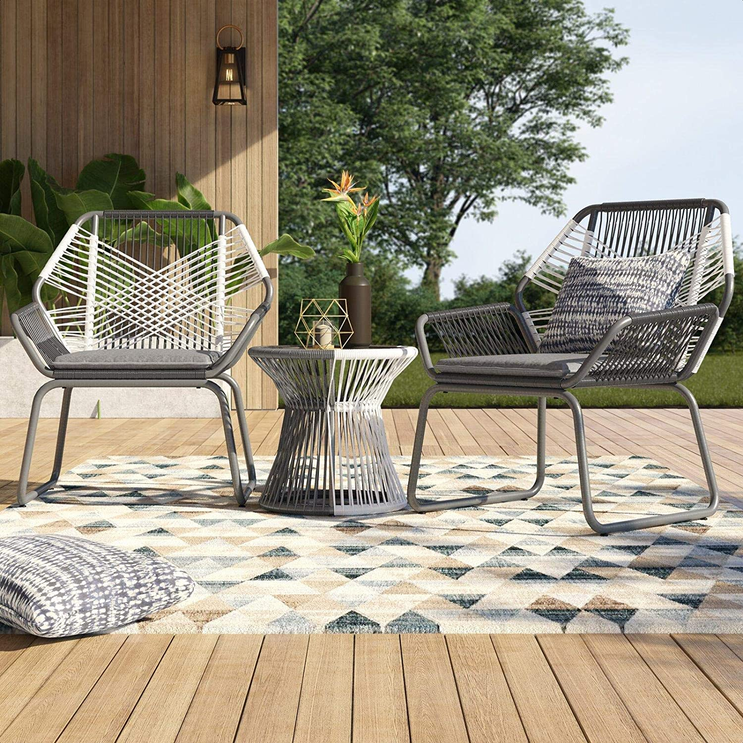 Amazon Com Palaney Sophia Outdoor 3 Piece Rattan Seating Group With Cushions Garden Outdoor