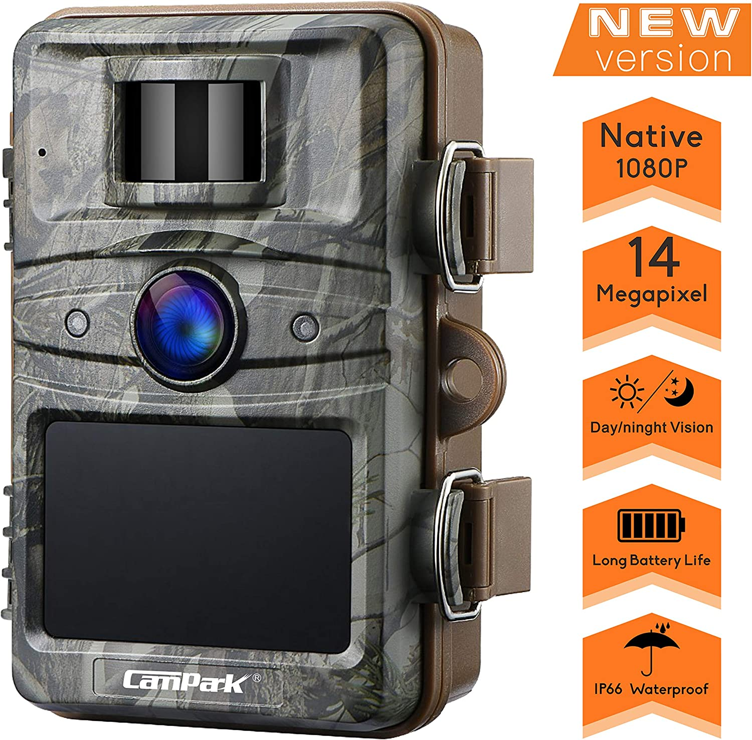 """Campark T70 Trail Game Camera nicht Glow Night Vision 14Mp 1080P Outdoor Hunting Cam Security Motion Activated Camera mit 2.4"""" Lcd und Ip66 Waterproof Battery Powered"""