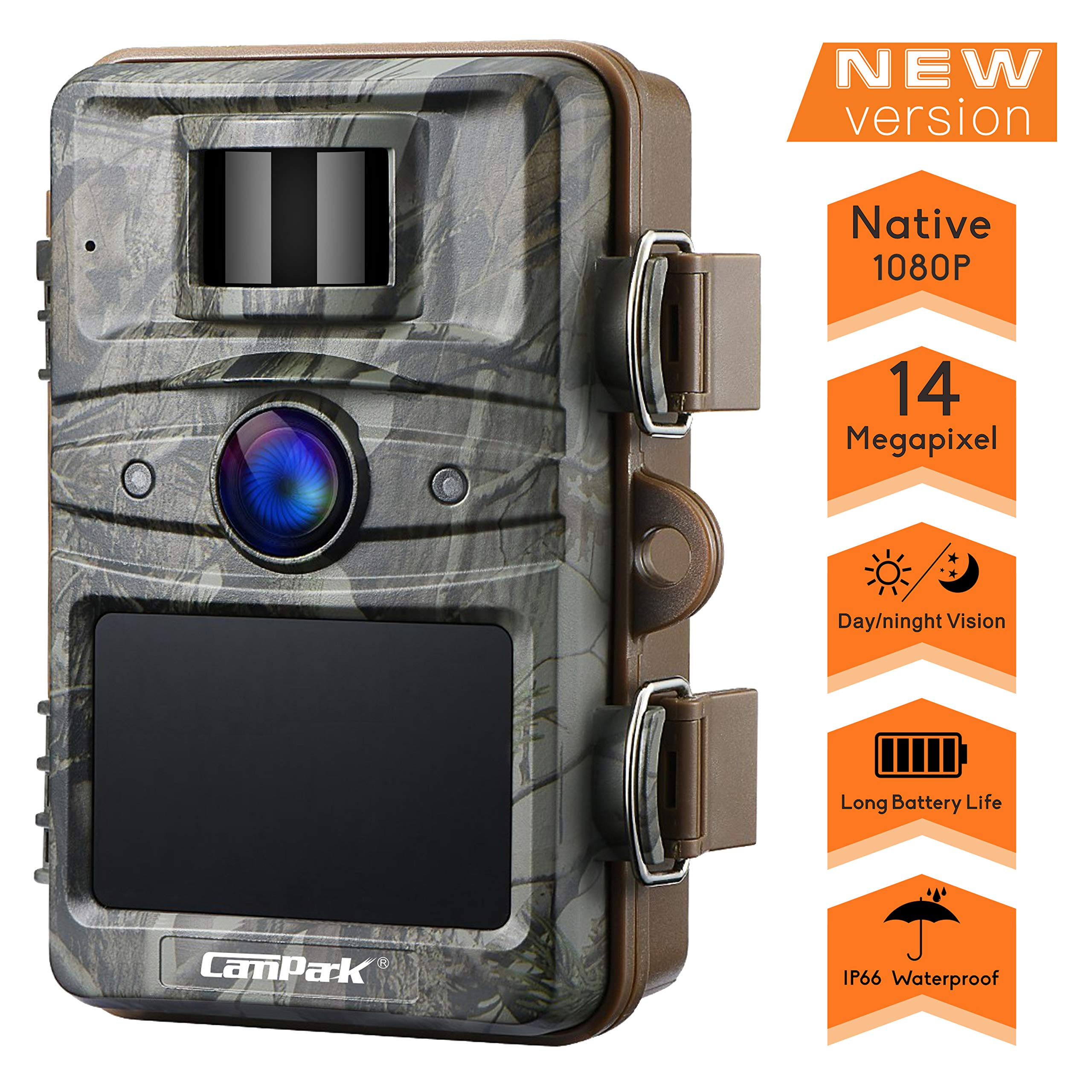 Campark Trail Camera 14MP 1080P HD Outdoor Game Hunting Cam 940nm Security Night Vision Motion Activated Cameras with 2.4'' LCD and IP66 Waterproof Battery Powered by Campark