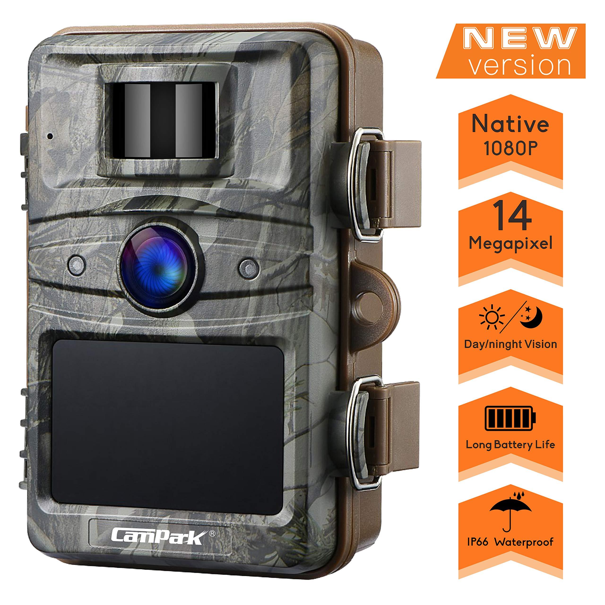 Campark Cámara de Caza 14MP 1080P HD Trail Cámara con 44pcs IR LED Invisible Visión Nocturna