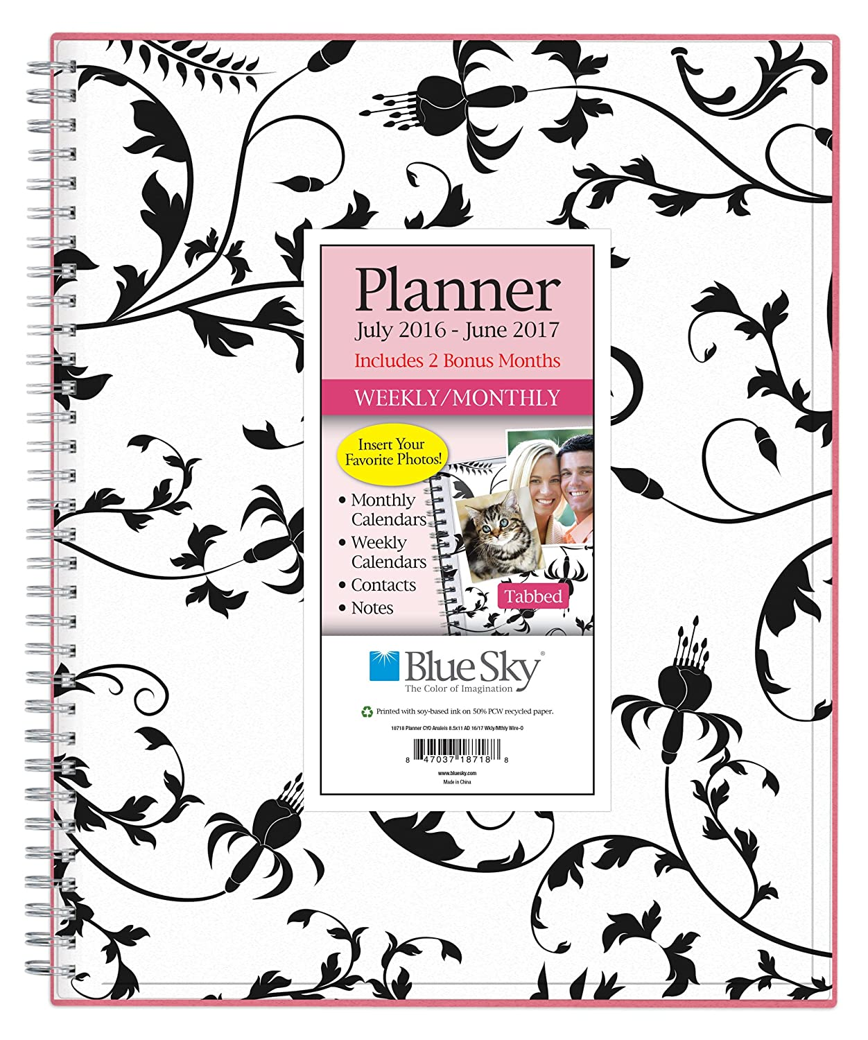 blue sky 2016 2017 academic year weekly monthly planner wire o