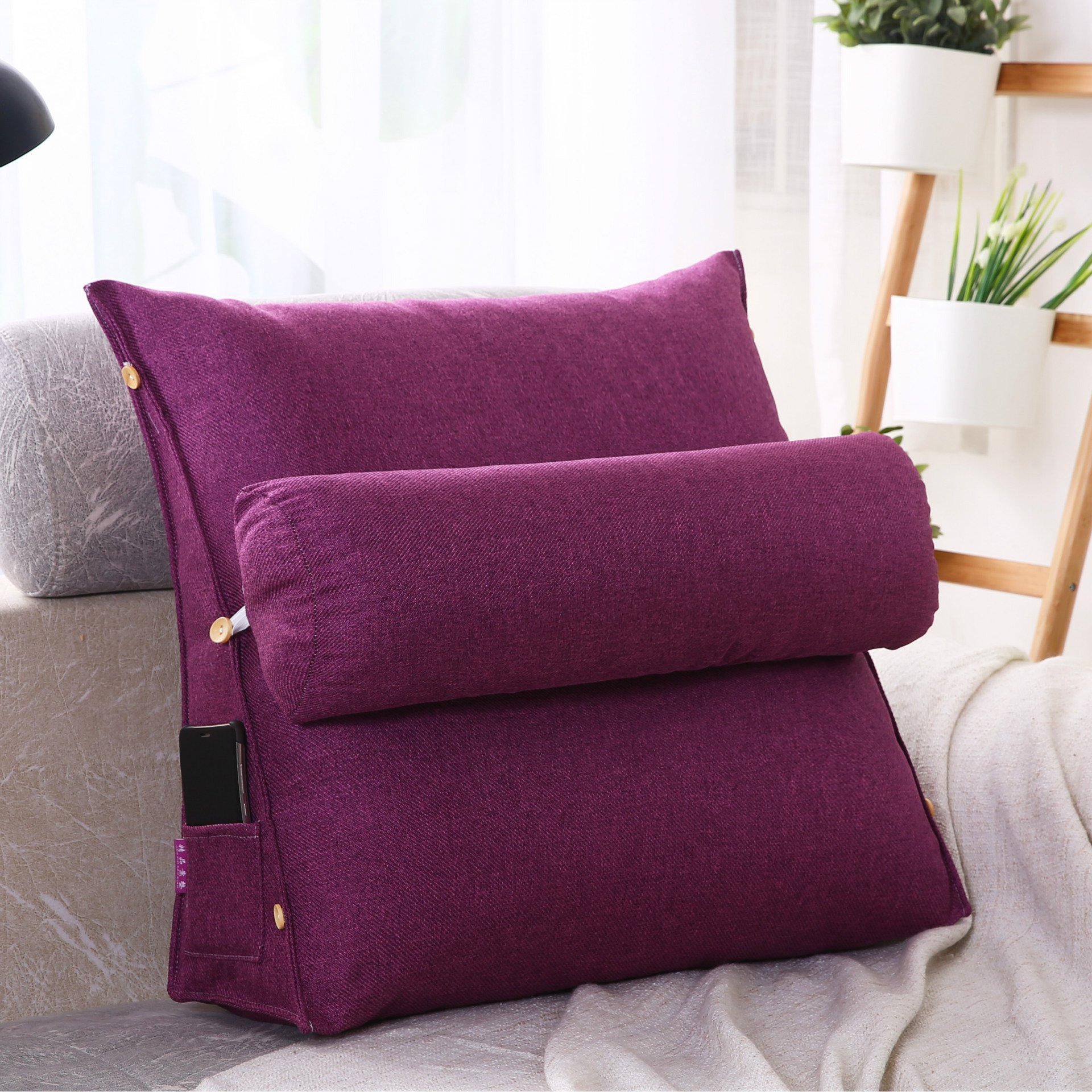 LUOTIANLANG Office sofa cushion pillow waist pillow for pregnant women Home Furnishing ornaments triangle comfortable cushion,Purple,50x200x20cm