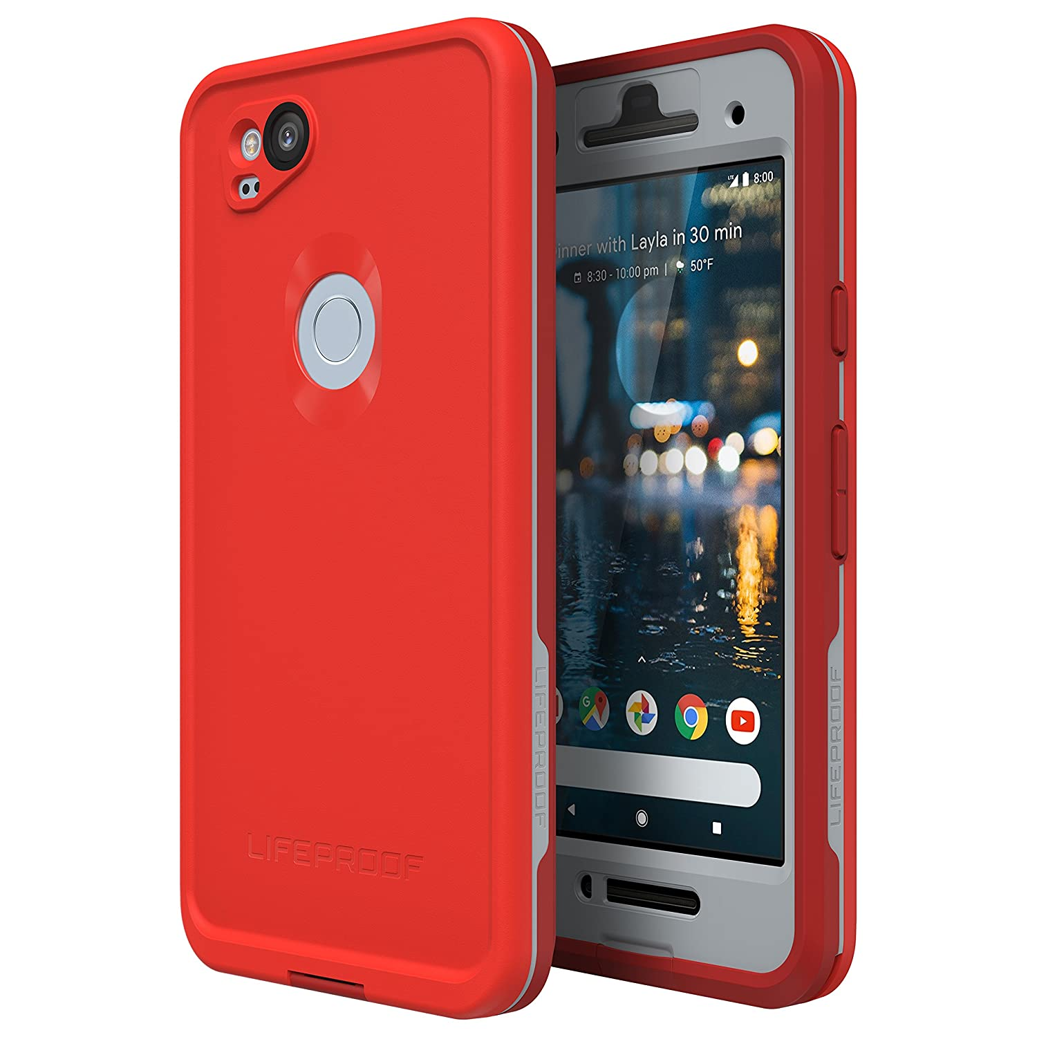 wholesale dealer 3dd8c 5e3c9 Lifeproof FRĒ Series Waterproof Case for Google Pixel 2 - Retail Packaging  - FIRE Run (Cherry Tomato/Sleet/Molten Lava)