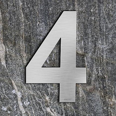 qobobo® Número Casa 4 Cuatro Signo Vivienda Calle de 304 Acero Inoxidable Cepillado , 200mm