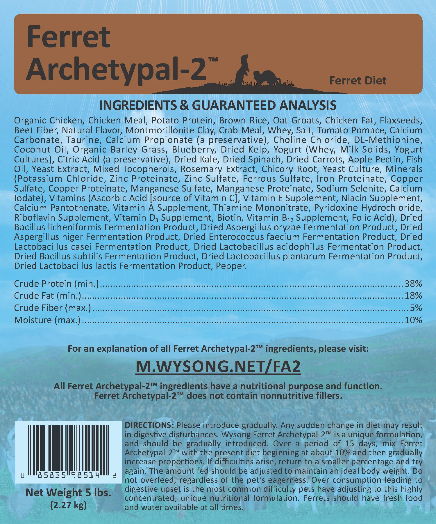 Wysong Ferret Archetypal-2 - Dry Ferret Food, Four - 5 Pound Bags by Wysong