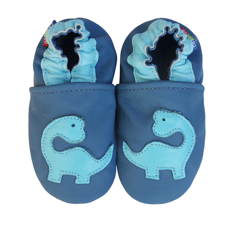 Carozoo Bleu De Dinosaure(Dinosaur Blue), Chaussures Bébé Semelle Souple Fille