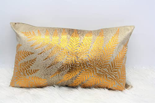 Contempo Lifestyles Gold Metallic Throw Pillow, 12 x 20 Gold Shiny Tropical Lumbar Rectangle Cozy Couch Sofa Bedroom Living Car Leaf Design Gold Holiday Throw Pillows