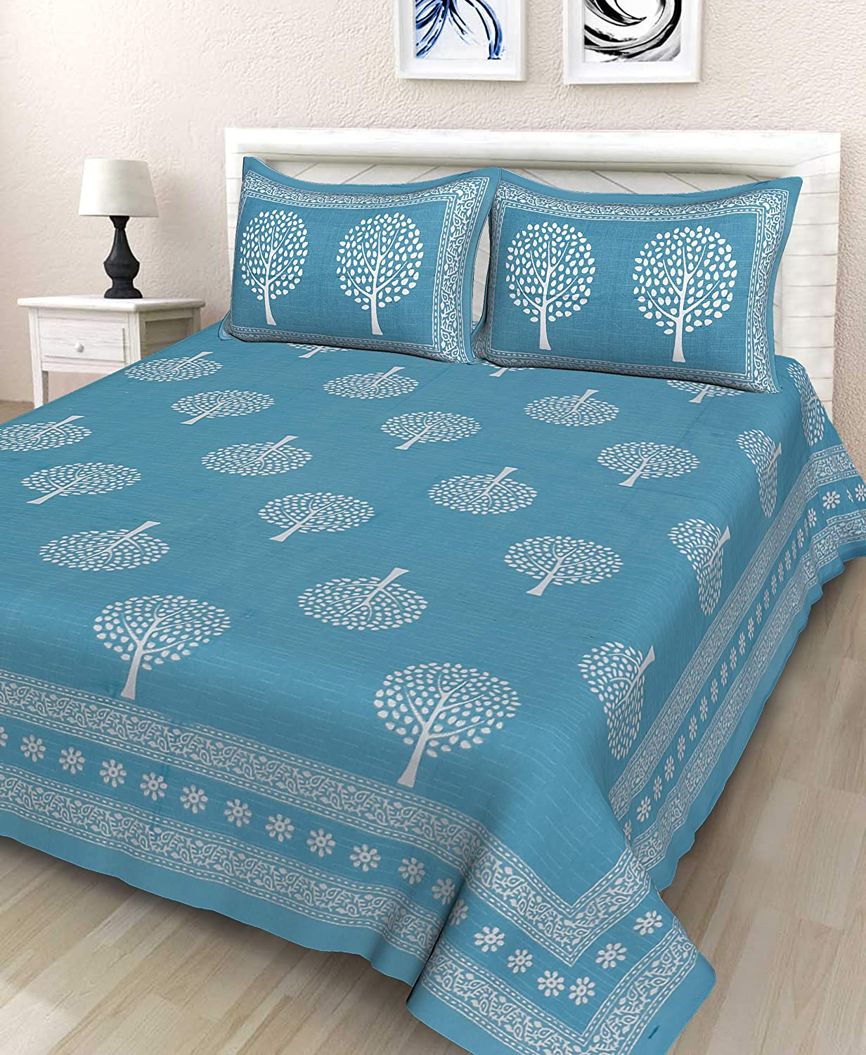 Indian Rajasthani Handmade New Royal Multi Cotton Bed Sheet 2 Pillow Covers Sets