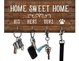 His, Hers, Ours, Paws Key Holder for Wall | Entryway Key Hook Decorative, Rustic Key Hangers for Wall | Farmhouse Home Decor Key Hooks | Home Sweet Home Sign