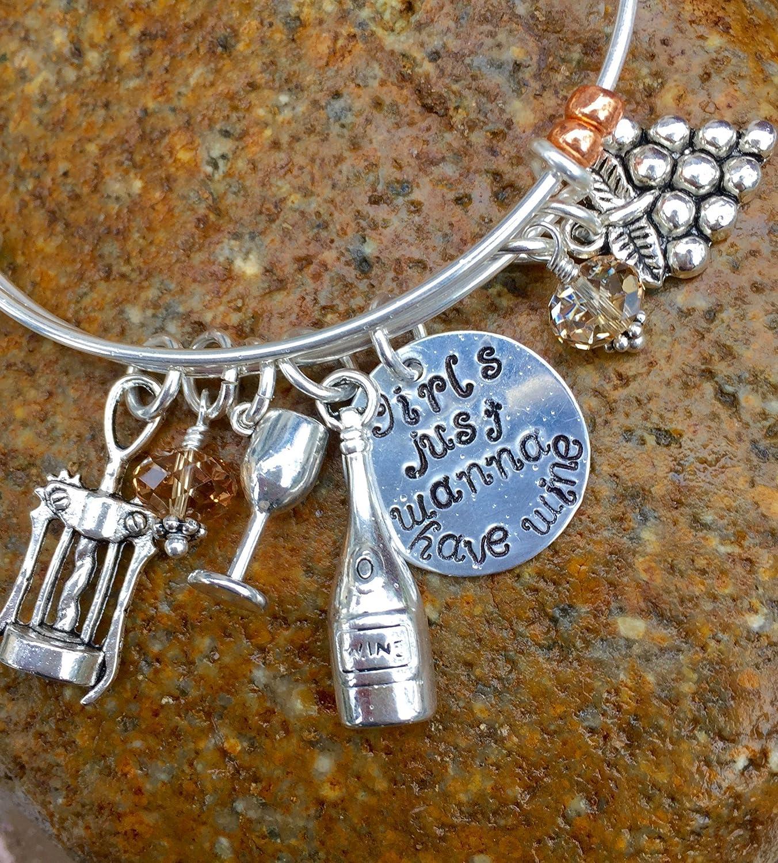 ddb62c1d65970 Amazon.com: Wine Lovers Bangle, Crystal Wine Charm Bracelet ...