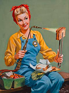 A Slice In Time 1940s Pin Up Girl Rosie The Riveter Welding Lunch Picture Poster