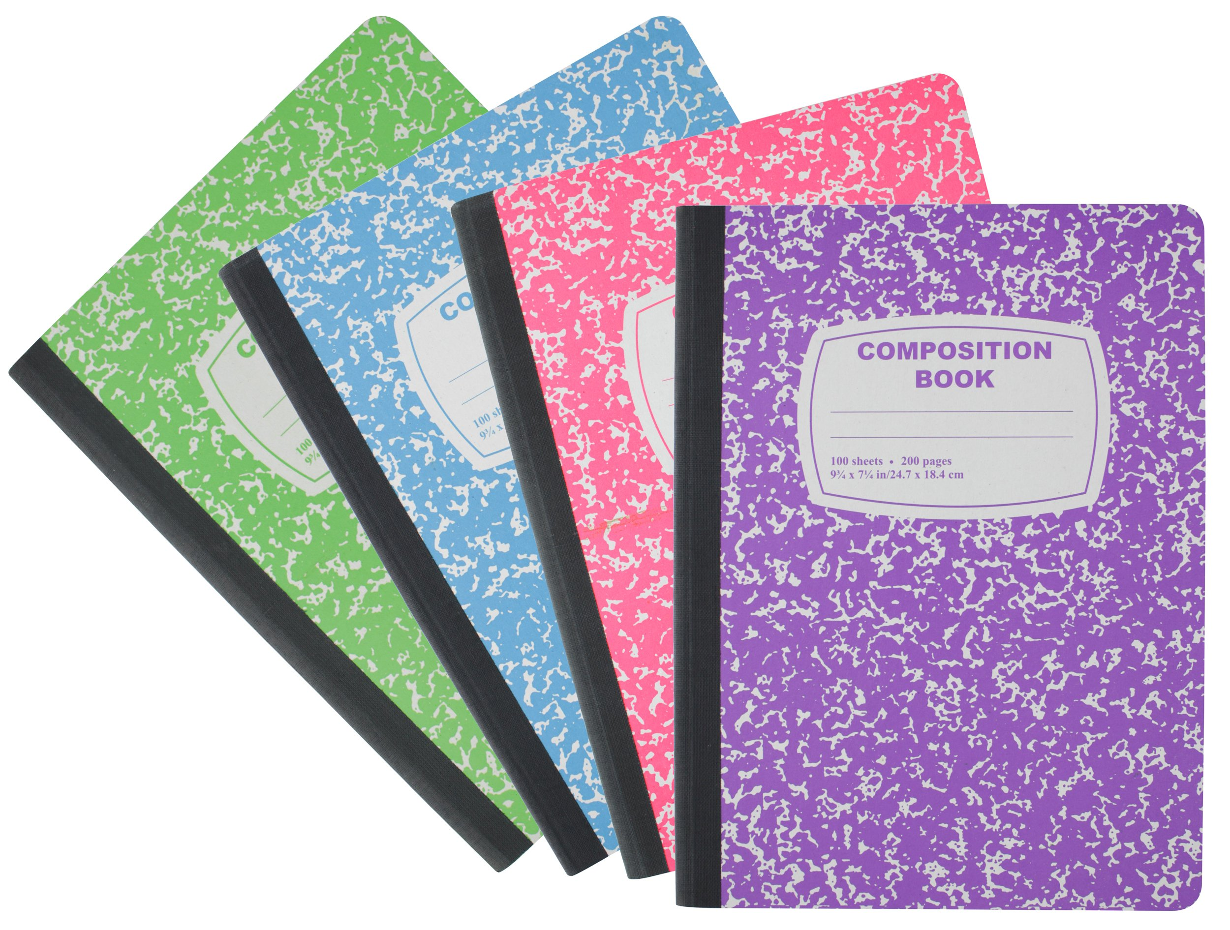 Emraw Neon Color Cover Composition Book with 100 Sheets of wide ruled white paper (3 Random Pack) Neon Purple, Neon Blue, Neon Green, Neon Pink by Emraw