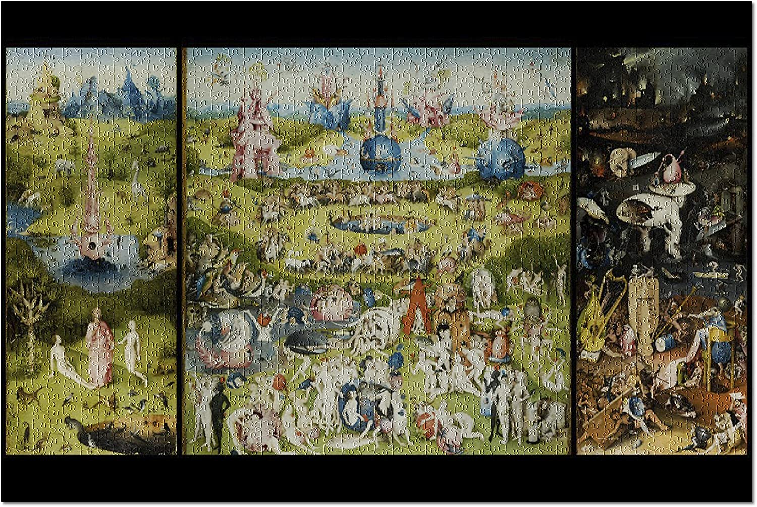 The Garden of Earthly Delights - (Artist: Hieronymus Bosch c. 1480) - Masterpiece Classic (20x30 Premium 1000 Piece Jigsaw Puzzle, Made in USA!)