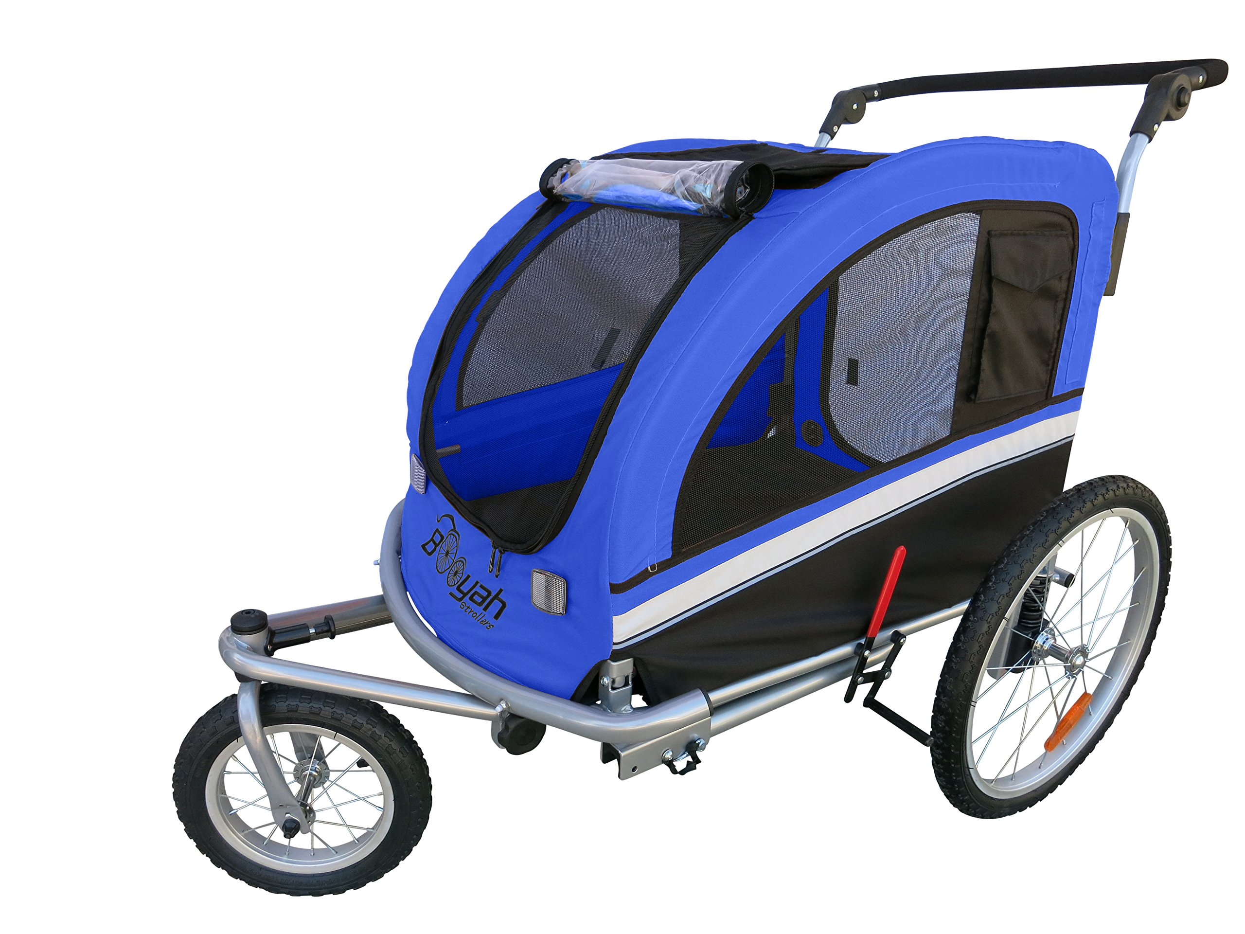 MB Booyah Large Pet Trailer Pet Bike Trailer & Jogger with Shocks - Blue by Booyah Strollers