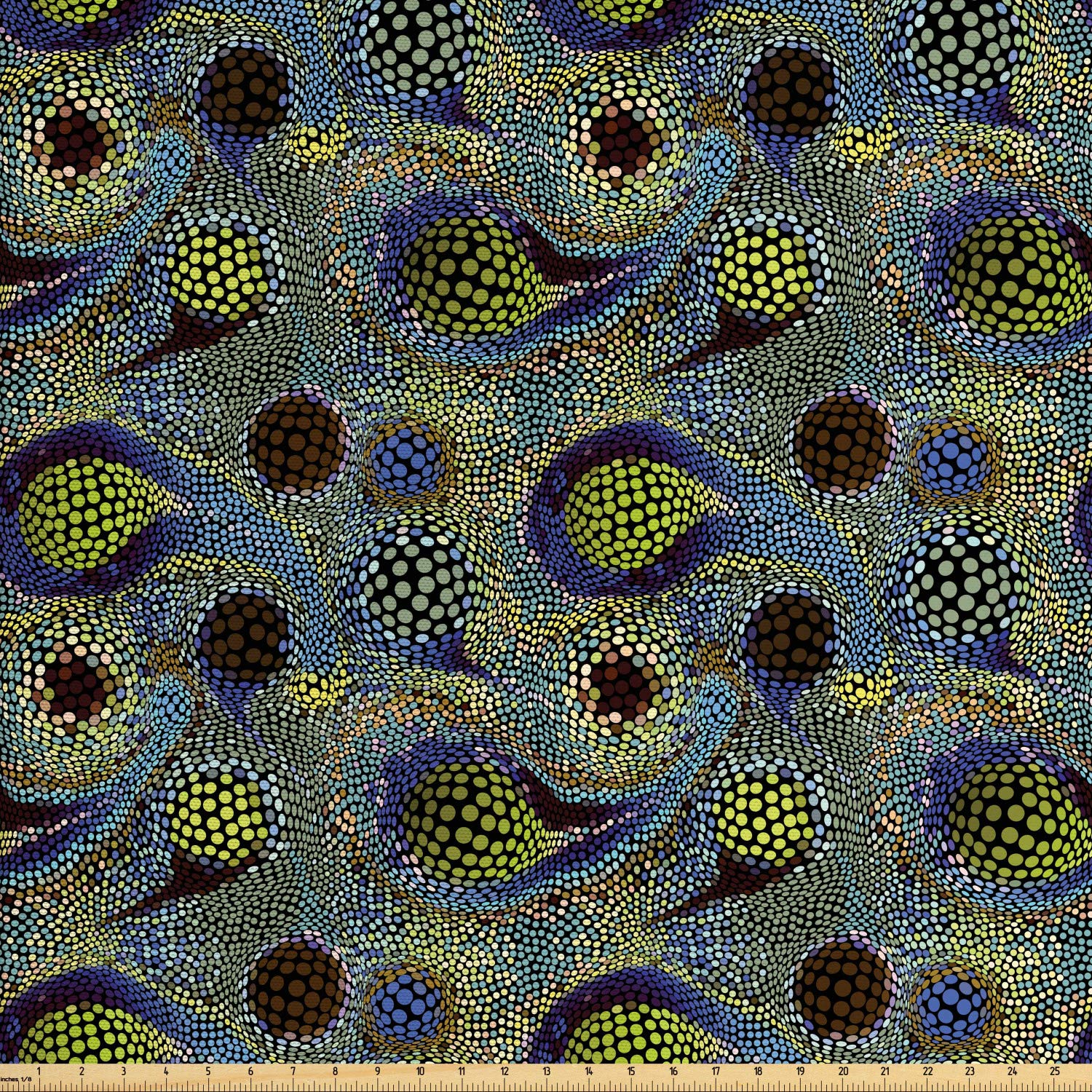 Ambesonne Paisley Fabric by The Yard, Circles Pattern with Persian Folklore Inspired Teardrop Motifs Oriental Design, Decorative Fabric for Upholstery and Home Accents, 1 Yard, Yellow Blue