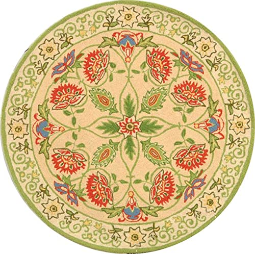 Safavieh Chelsea Collection HK330A Hand-Hooked Beige and Green Premium Wool Round Area Rug 3' Diameter
