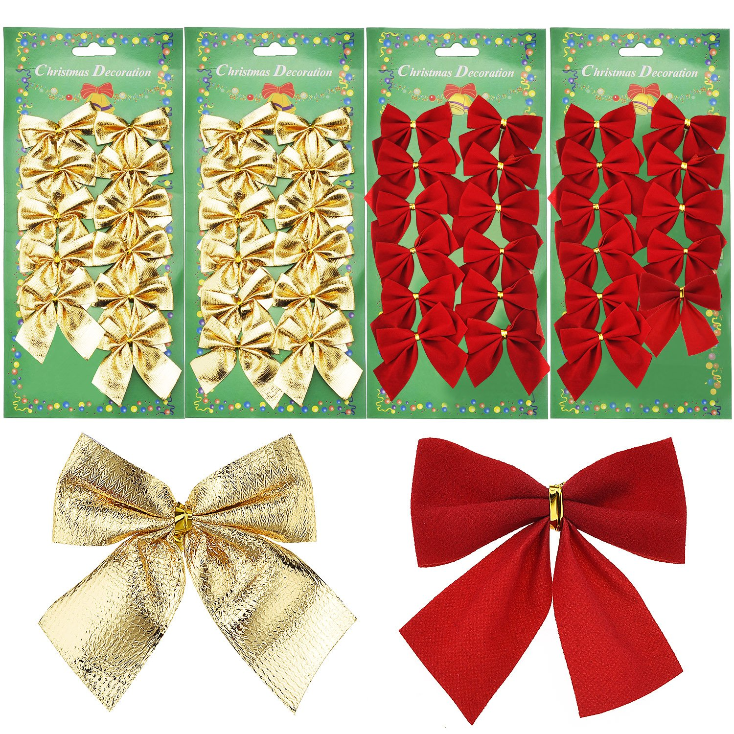 48 Pieces Festival Bow Decorations Christmas Ribbon Bows Ornaments