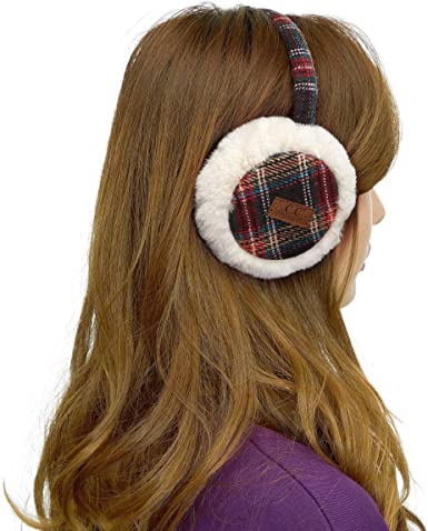Unisex Plaid Pattern Knit EarMuffs Faux Furry Earwarmer Winter Outdoor EarMuffs