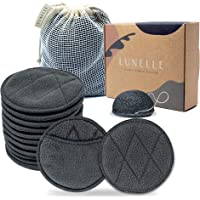 Lunelle Charcoal Bamboo Reusable Makeup Remover Pads 12 Pack - Reusable Face Pads with Laundry Bag + Charcoal Konjac…