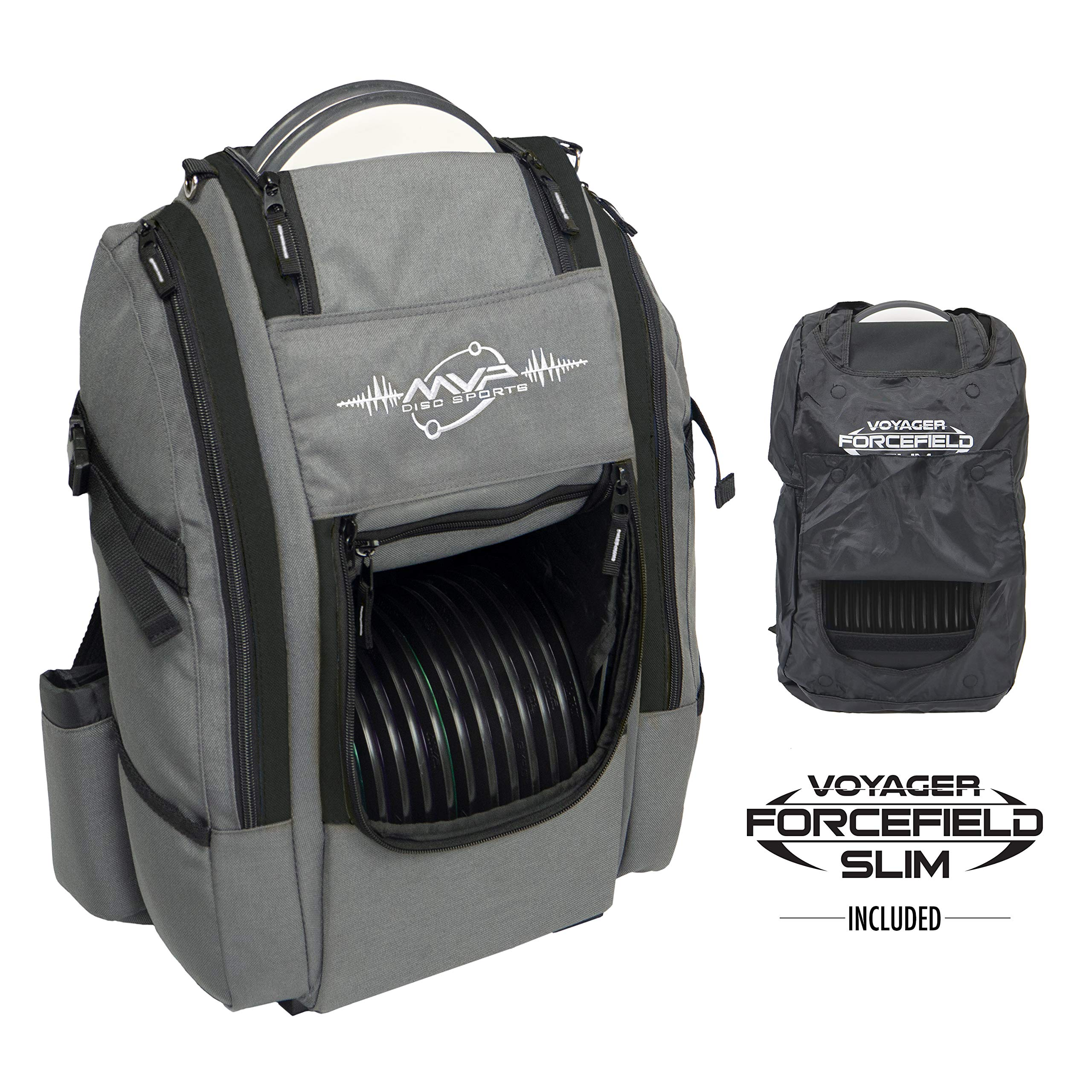 MVP Disc Sports Voyager Slim Bag (Gray/Black) + Forcefield by MVP Disc Sports