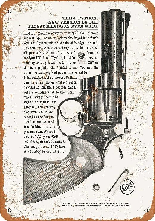 Fhdang Decor Vintage Pattern 1960 Colt Python .357 Magnums Vintage Look Metallschild Aluminium Schild 6x9 inches Multi