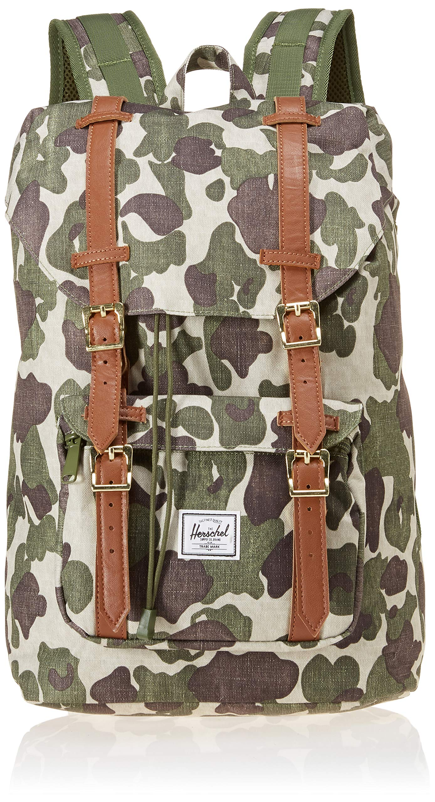 Herschel Supply Co. Little America Flapover Backpack, Frog Camo/Tan Synthetic Leather, Mid-Volume 17L by Herschel