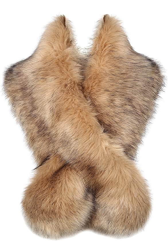 1920s Accessories | Great Gatsby Accessories Guide BABEYOND Womens Faux Fur Collar Shawl Faux Fur Scarf Wrap Evening Cape for Winter Coat $23.99 AT vintagedancer.com