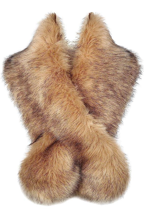 1920s Shawls, Wraps, Scarves, Fur Stoles BABEYOND Womens Faux Fur Collar Shawl Faux Fur Scarf Wrap Evening Cape for Winter Coat $23.99 AT vintagedancer.com