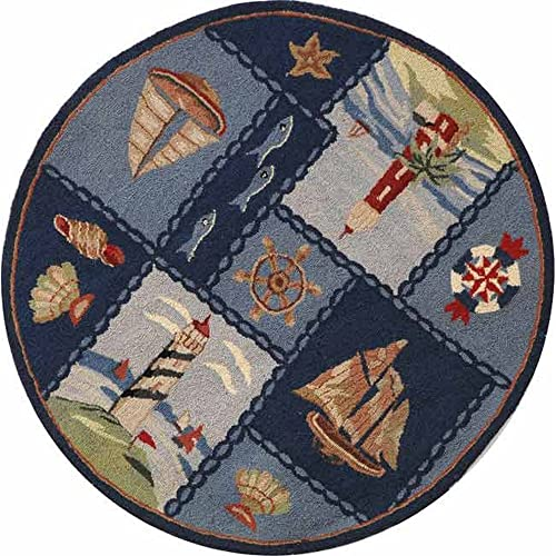 Safavieh Chelsea Collection HK267A Hand-Hooked Blue Premium Wool Round Area Rug 3 Diameter