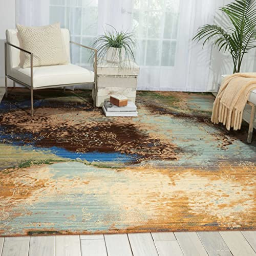 Nourison Rhapsody Ocean Rectangle Area Rug, 9-Feet 9-Inches by 13-Feet 9 9 x 13