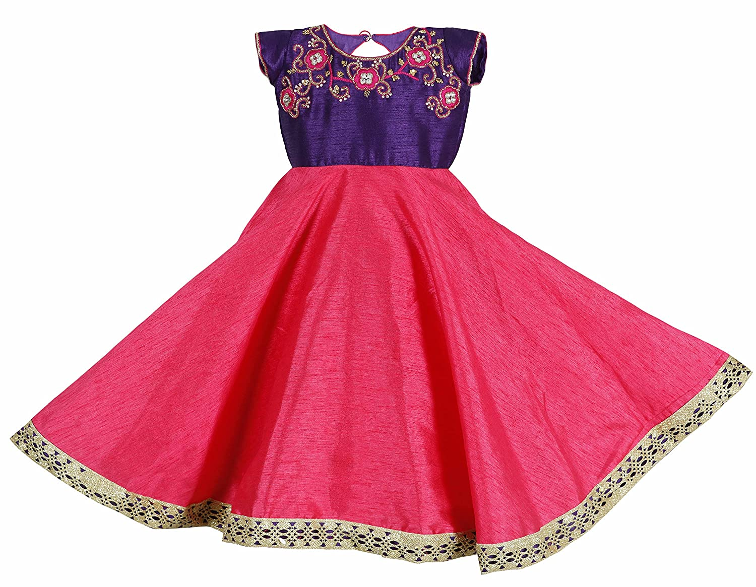 3515d49f72670 LAVIS Latest Designer Baby Girls Traditional Pink and Violet Gown   frock  with Golden Embroidery on Raw Silk Party Wear Dresses  Size available New  Born ...